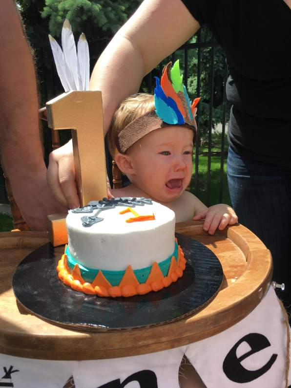 Cake by HyVee - Tears by mom telling him he couldn't eat it *just* yet!