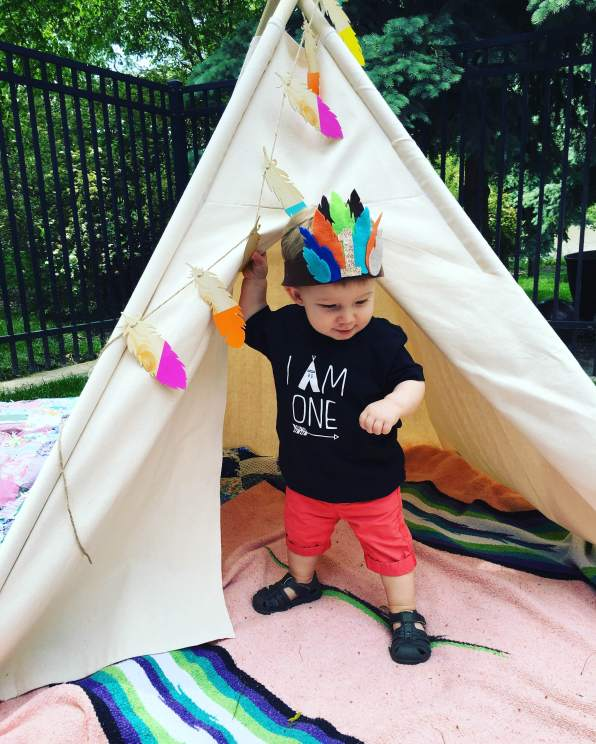 Birthday Boy in his Small Frys Tee Pee and Crown!